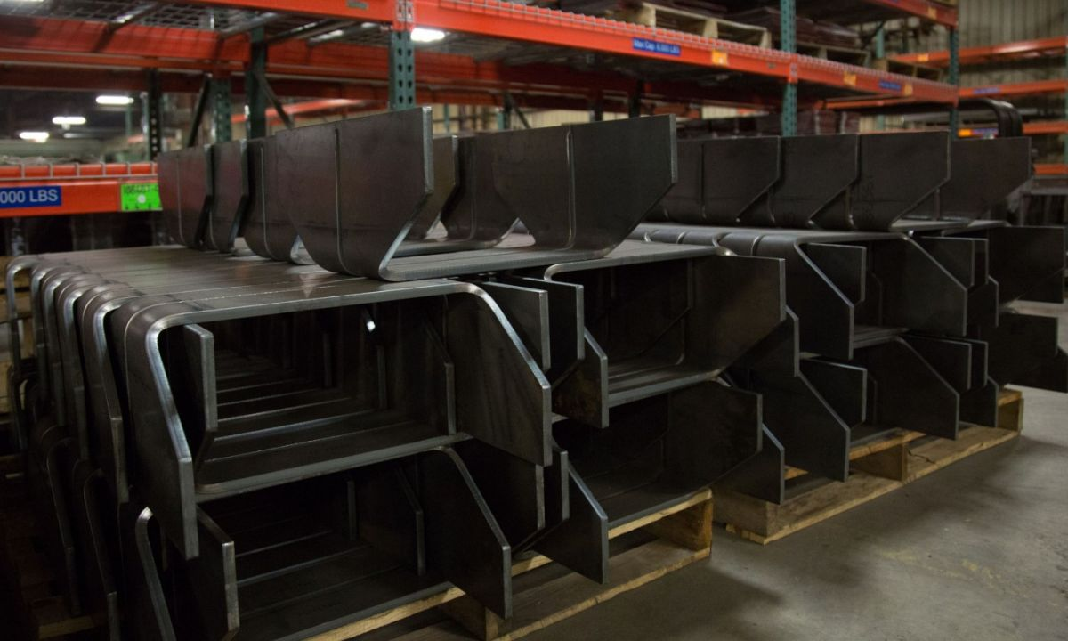 Quality Rail Car Parts at Oertel displaying racks of metal